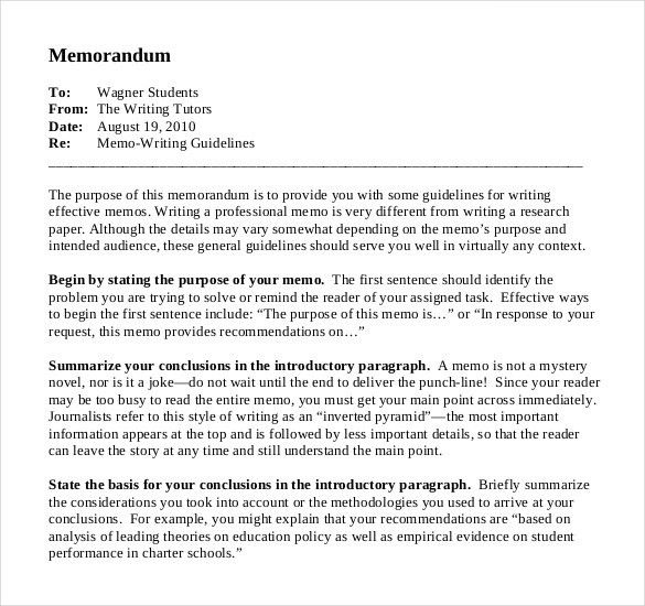 Memo Examples To Students Keys For Writers Sample Memo, 6 Memo - policy memo template