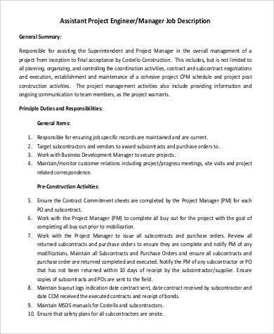 Architectural Project Manager Job Description Architectural - project engineer job description