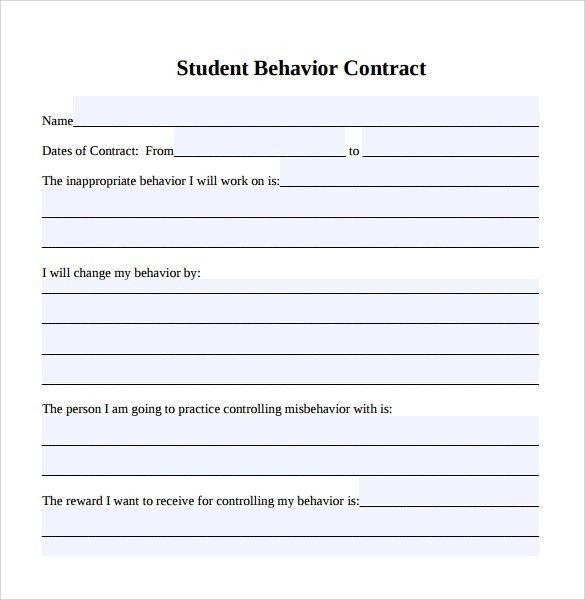 Blank Contract Forms Agreement Templates Free Word Templates - sample behavior contract