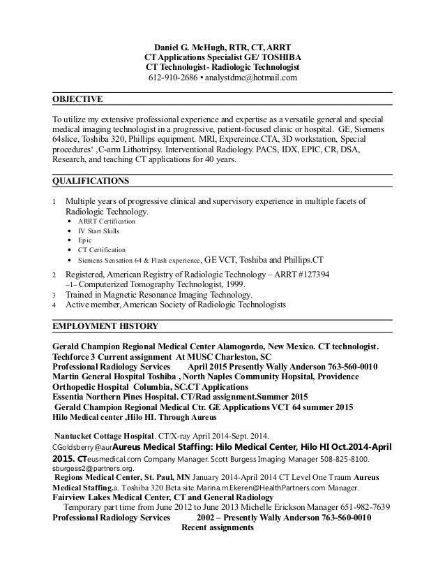 radiologic technologist sample resumes