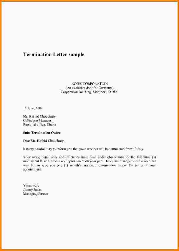 Employment Separation Letter Sample 11 Employment Termination - employee termination letter