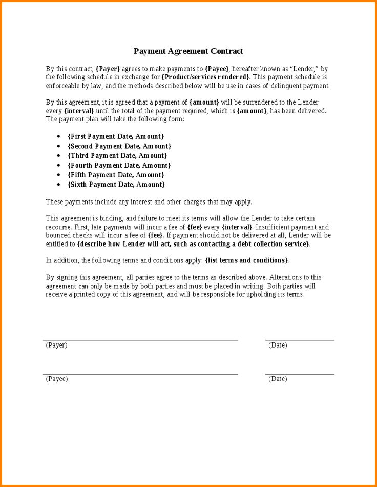 Payment Contract Template Payment Plan Agreement Template 25 Free - payment agreement contract