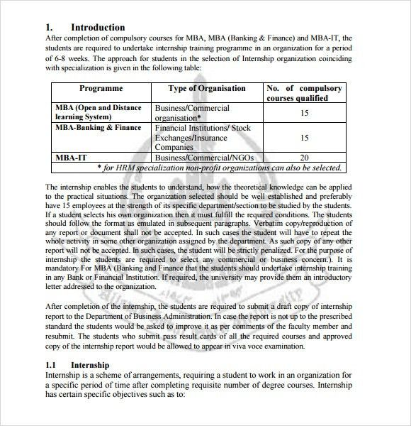 Finance Report Format 11 Financial Report Templates Free Sample - sample internship report template