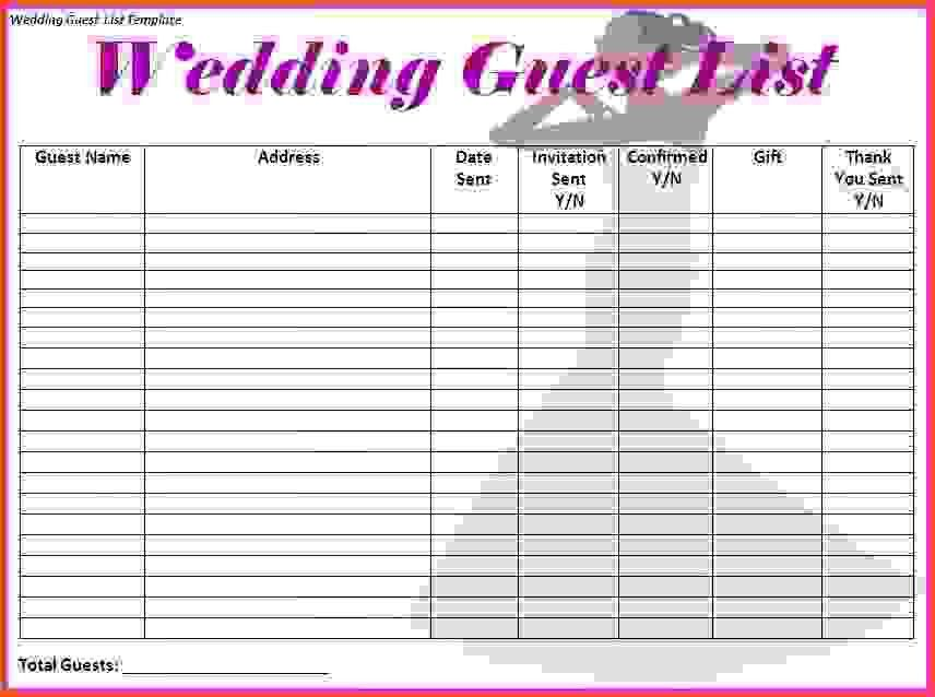 Template For Wedding Guest List 7 Free Wedding Guest List - invite list template