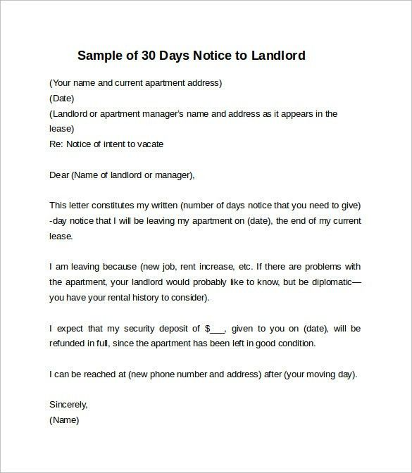 Sample 30 Day Notice To Vacate Apartment Printable 30 Day Notice - notice form in word
