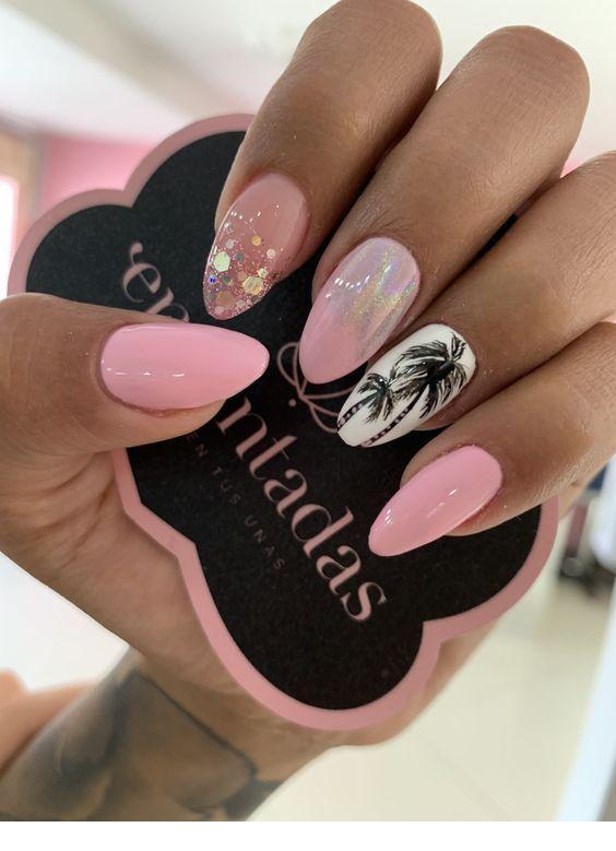 Nice light pink summer nails