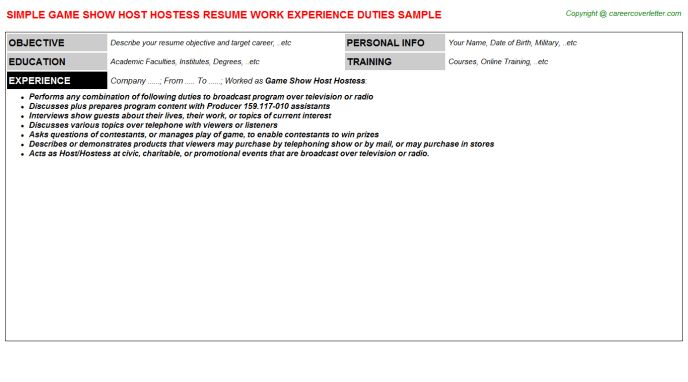hostess resume objective vip resume objective example resume