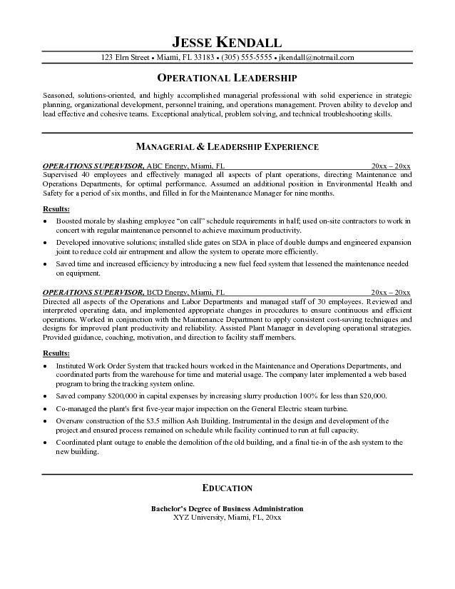 Supervisor Resume Objective Examples - Examples of Resumes