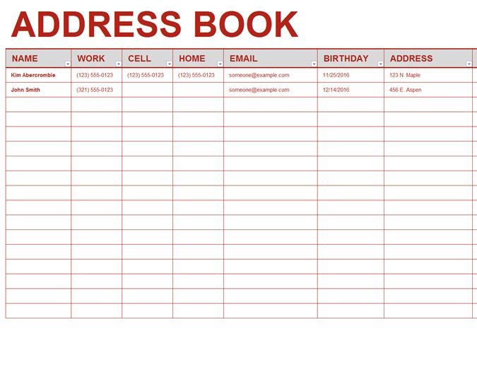 Address List Template Printable Address Listbook Template For Ms - excel phone list template