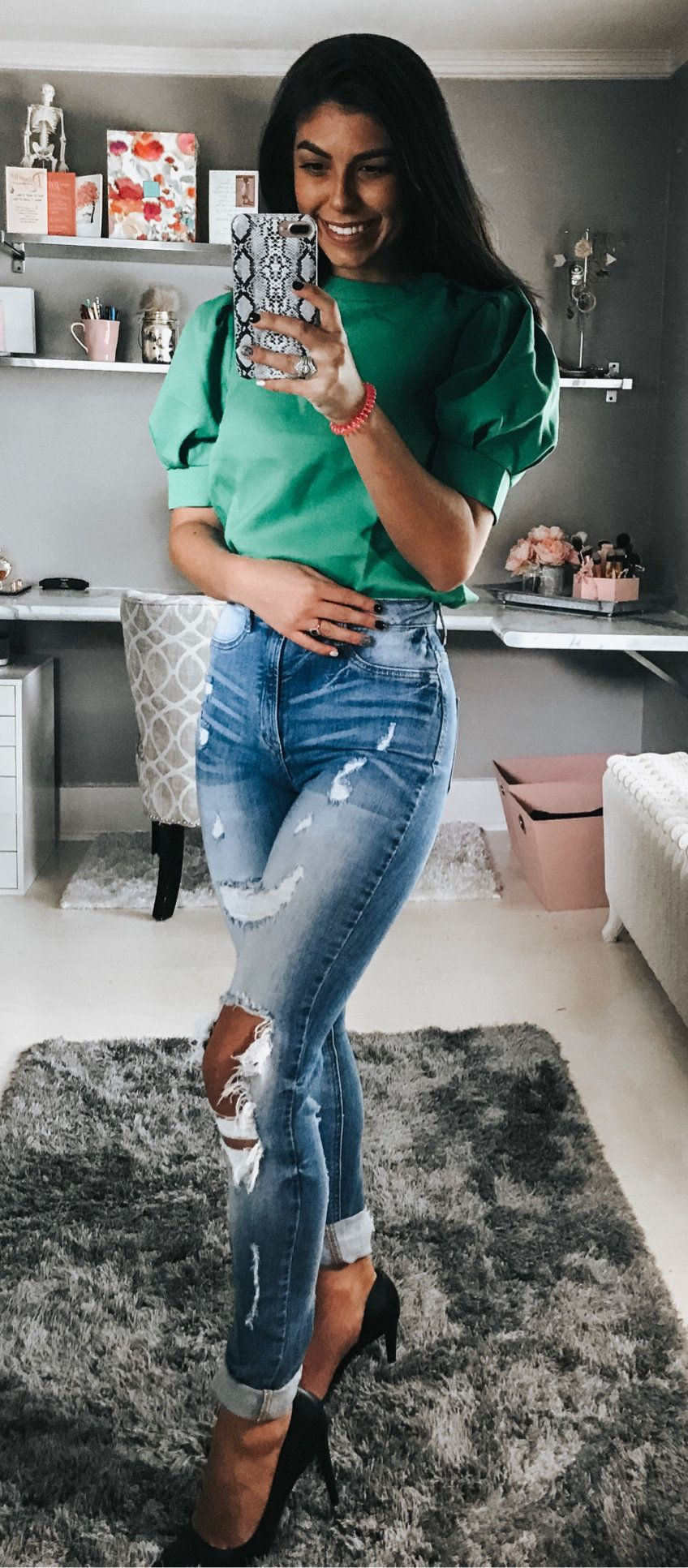 green blouse #summer #outfits