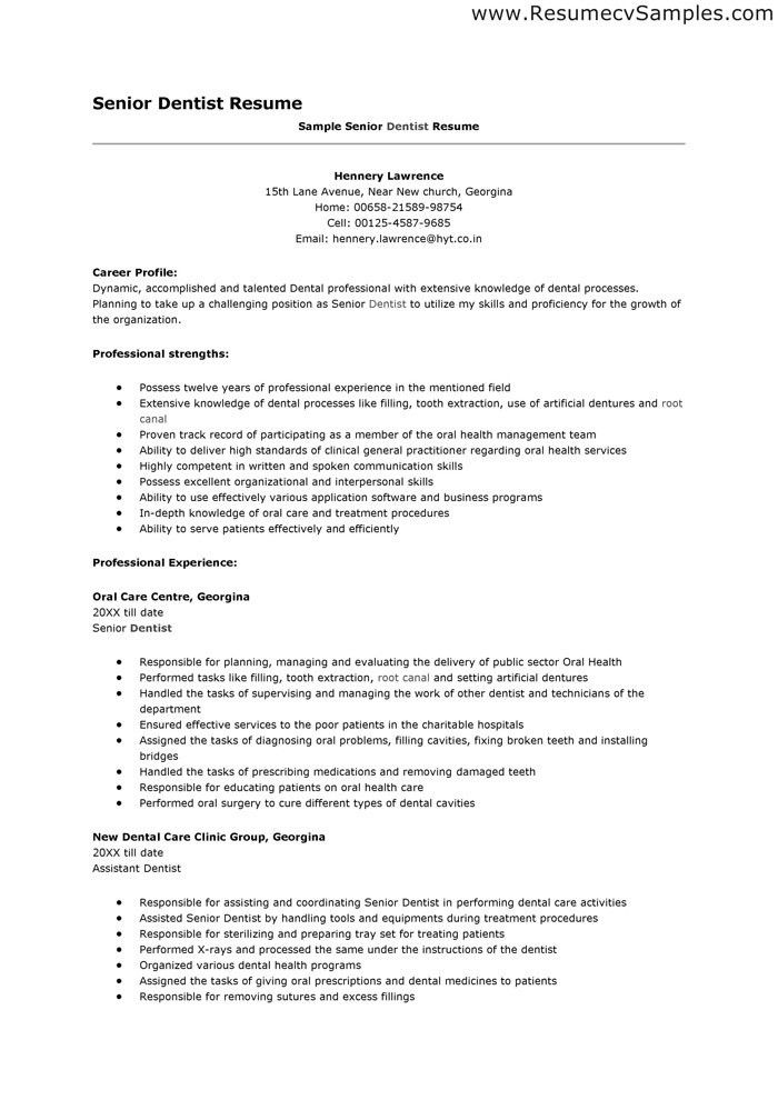 Resume For Dentist In Canada