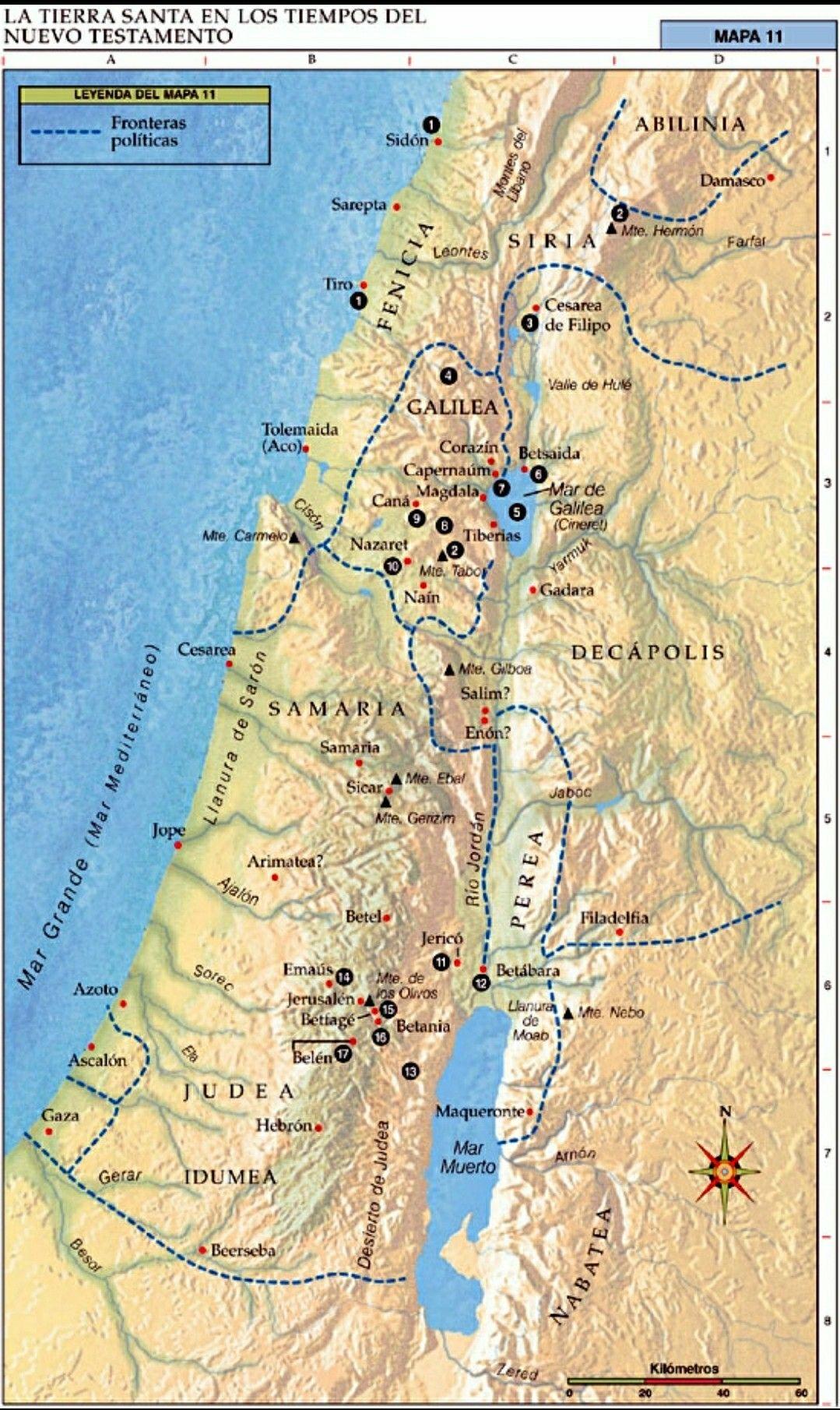 Tierra Santa En Tiempos Del Nuevo Testamento Mapa De La Tierra Tierra Santa Bíblicos