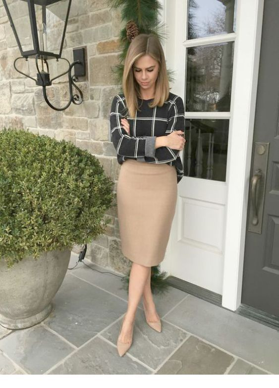 Cute plaid shirt and beige skirt
