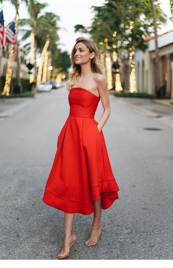 A classy red dress with sandals