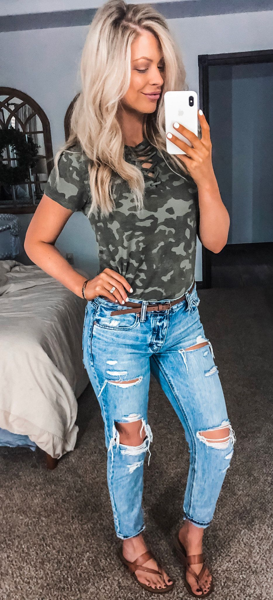 camouflage shirt and distressed blue denim jeans #summer #outfits