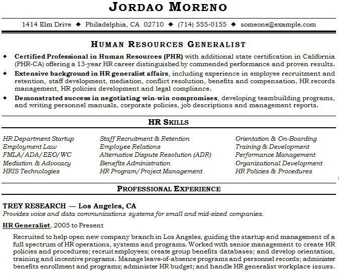 Human Resources Generalist Resume Sample Hr Generalist Resumes Hr