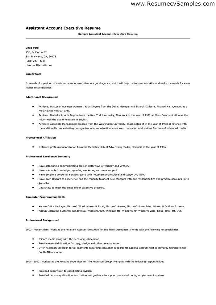 Accounting Executive Sample Resume Account Executive Resume Example - assistant account executive sample resume