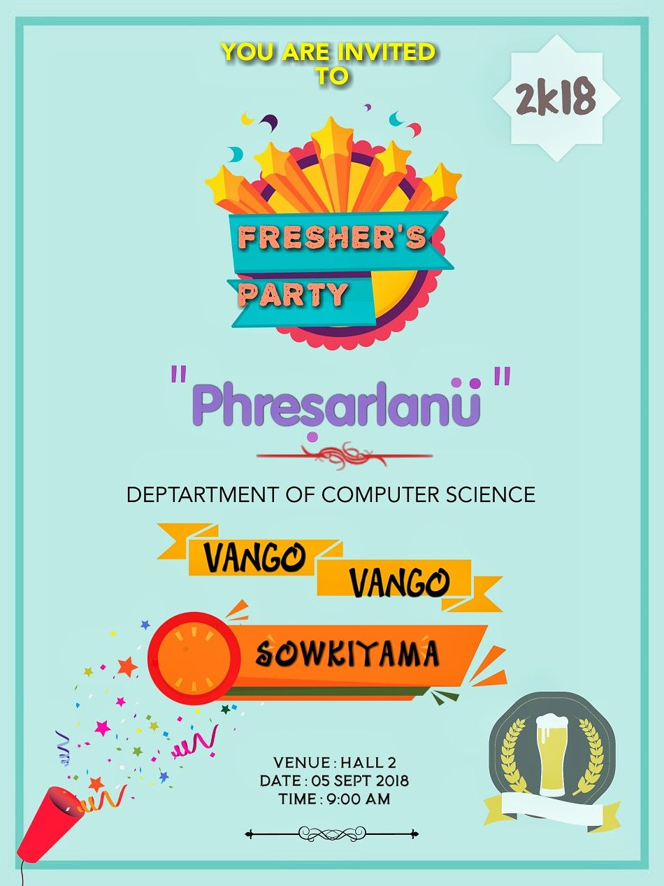 Fresher Party Invitation Card Computer Science Department