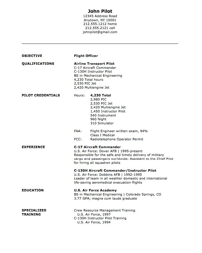 Pilot Resume Download Military Examples