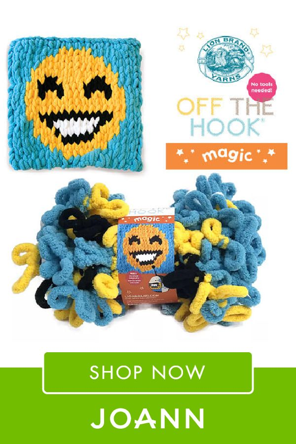 No needles? No problem with Lion Brand Off The Hook Magic Yarn at JOANN! This is a super plush chenille yarn that's innovatively spun with sturdy loops. Click here to shop now!