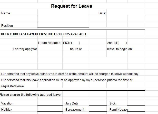 ... Format Of Leave Form Leave Application Form Template Free   Leave  Application Forms ...  Leave Forms Template