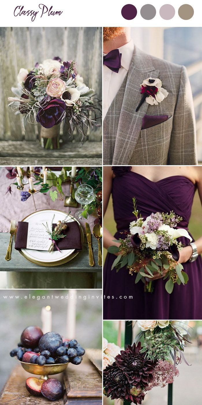 plum and grey organic fall wedding colors