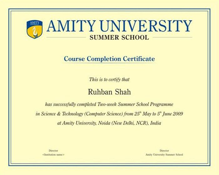 Amazing computer course completion certificate format photos best certificate format for computer course in india choice image yadclub Image collections