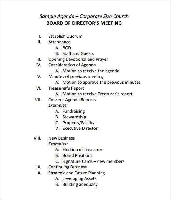 sample of meeting agenda template