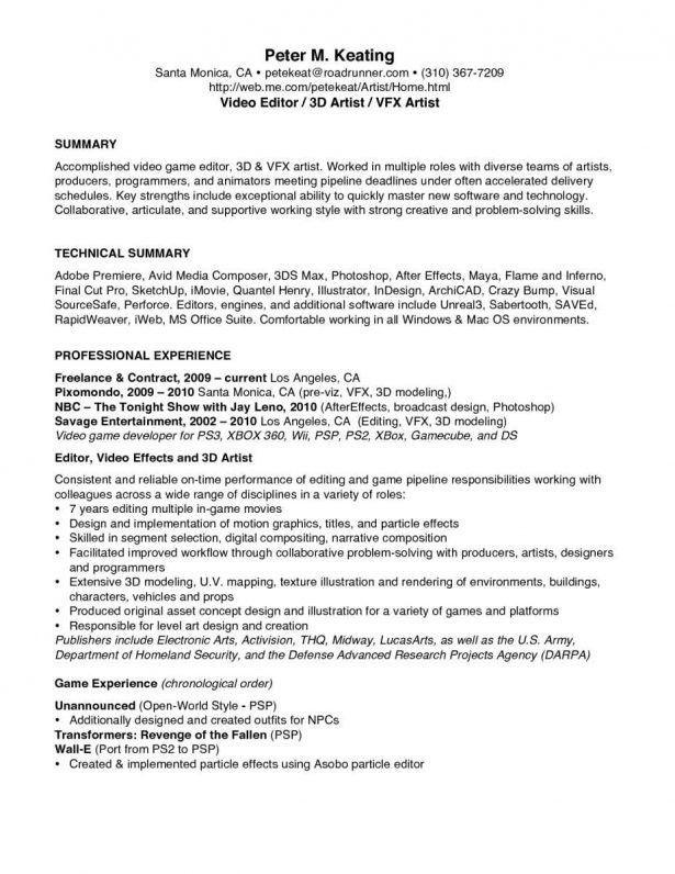 game programmer resume