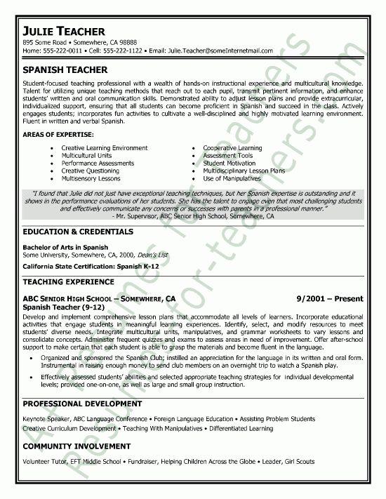 Spanish Resume Example Spanish Teacher Resume Samples Visualcv - spanish resume template