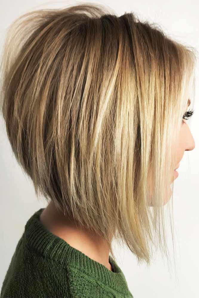 Straight Inverted Bob Hairstyle #blondehair #straighthair ★ All the inverted bob hairstyles: stacked, choppy, short, curly, with side bangs, with layers, are gathered here! #glaminati #lifestyle #invertedbob