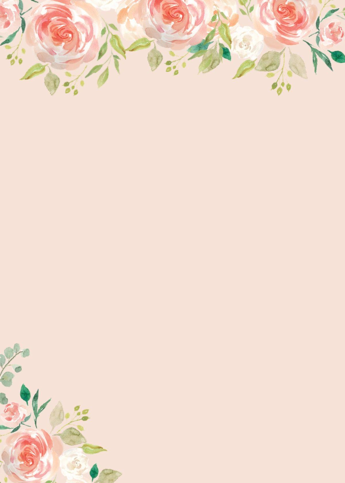 peach flower wedding invitation blank printable  flower