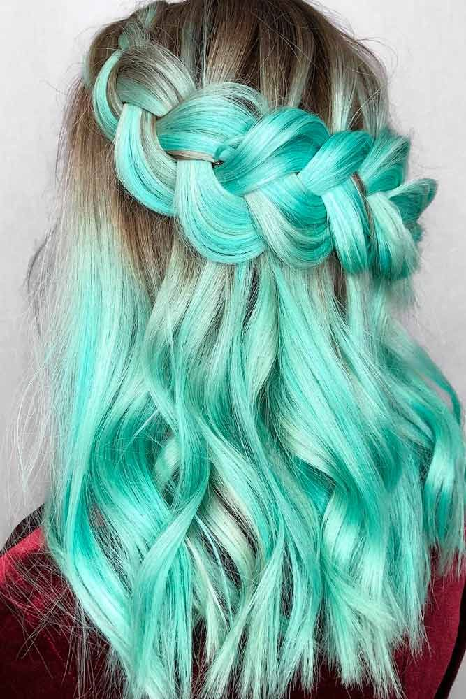 Mint Green Hair Shades #colorfulhair #minthair ★ Looking for the latest green hair ideas? In our guide, we've put together the best options to match any taste, from light pastel mint balayage on a short bob to dark and bright emerald ombre on long locks. #glaminati #lifestyle #greenhair