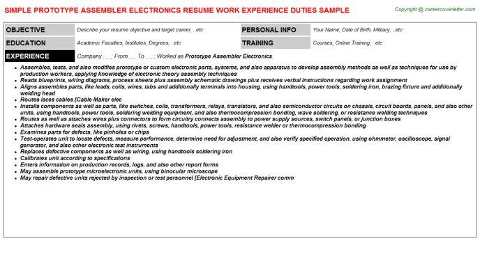 Electronic Assembler Sample Resume] Professional Electronic ...