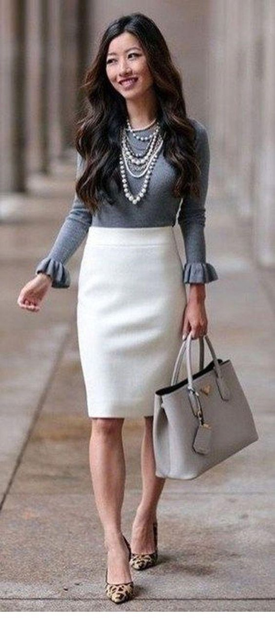 Grey blouse and white skirt with pearls