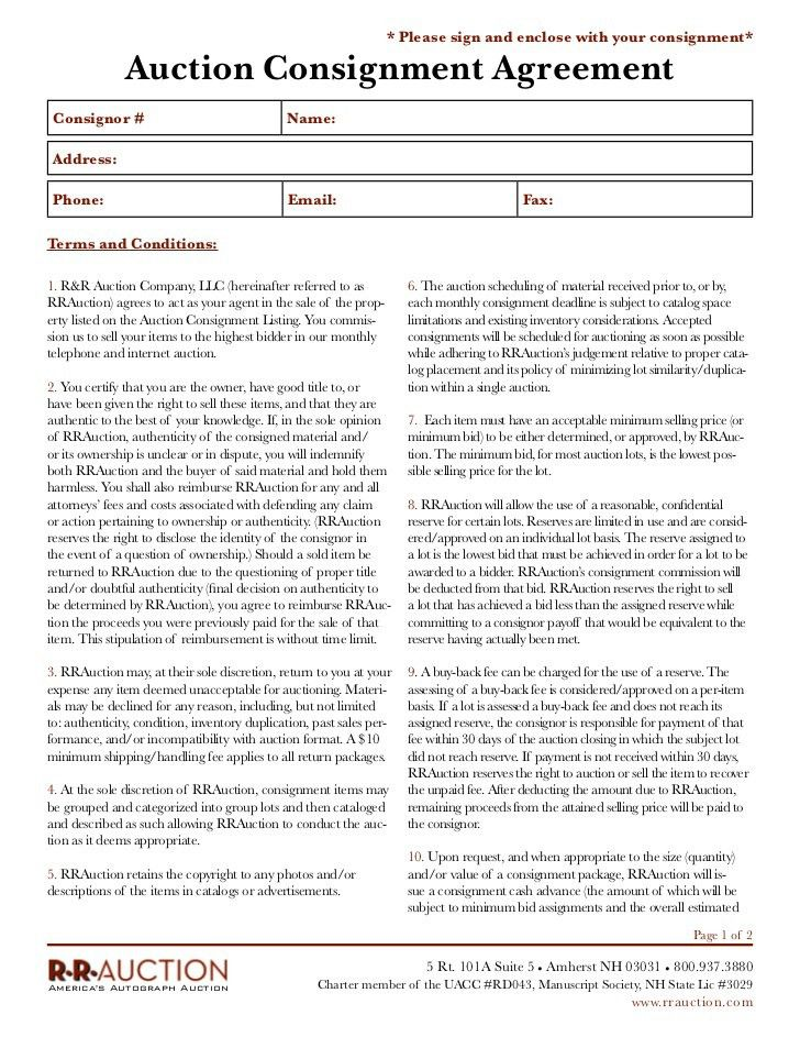 Consignment Contract Template Consignment Contract Template 4 - consignment form template