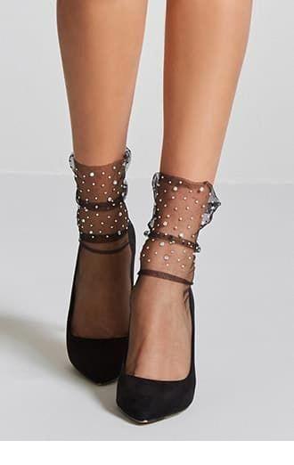 Black socks and pumps