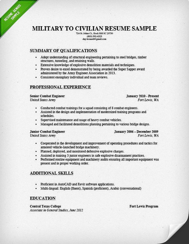 military resume example examples of resumes