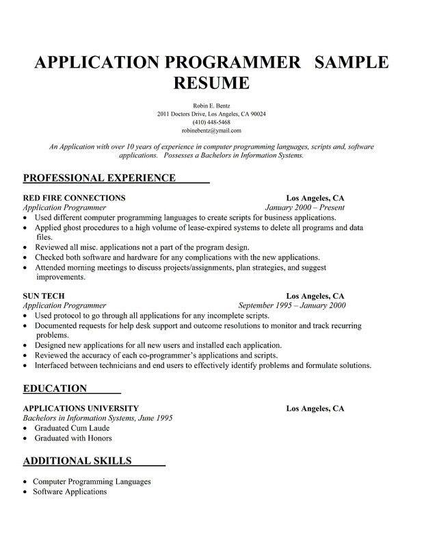 Systems Programmer Resume Computer Programmer Job Description Technical  Trainer Resume