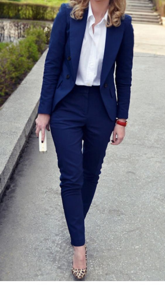 Chic navy suit with white shirt