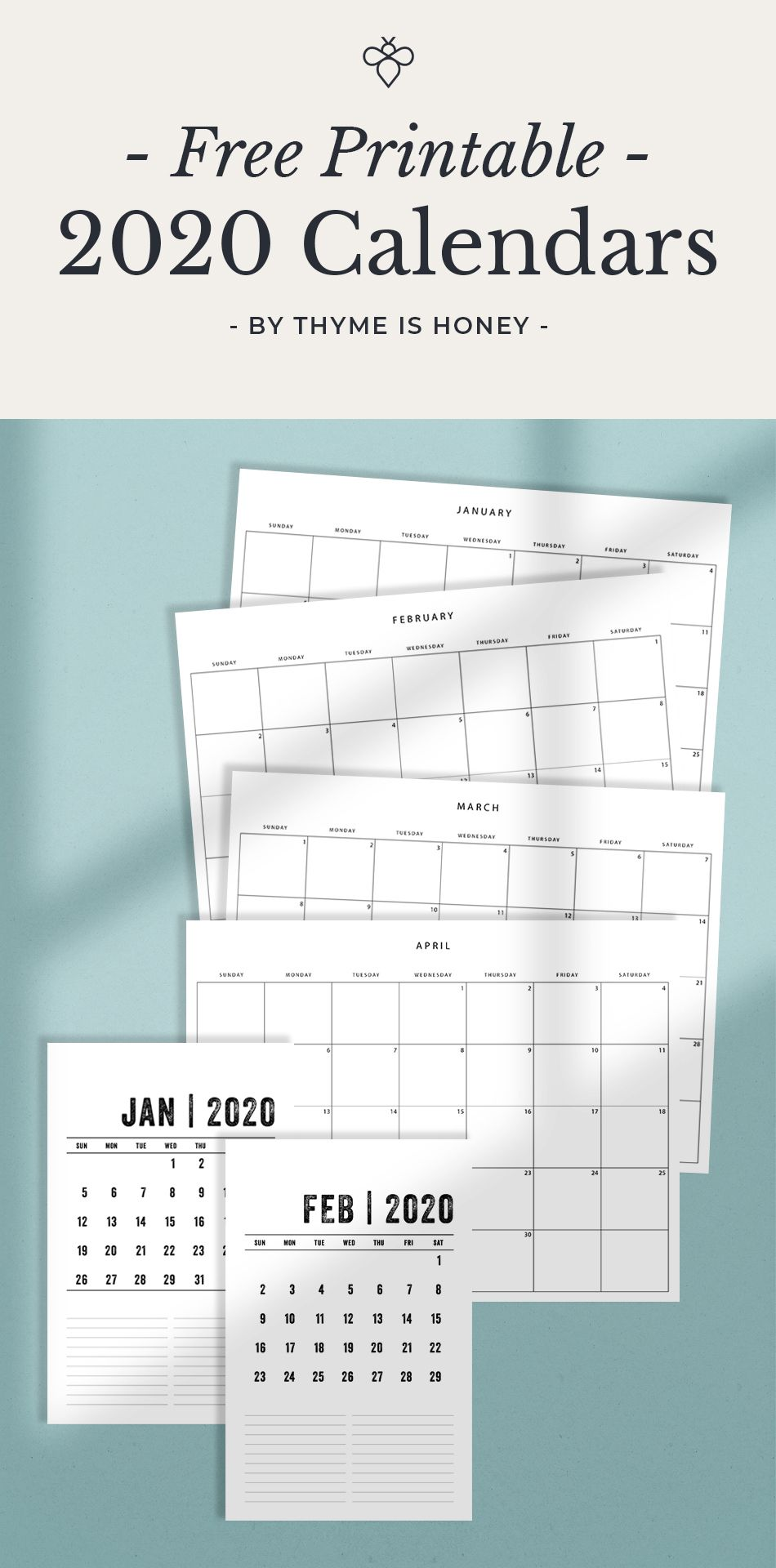 Free Printable 2020 Calendars: simple, minimalist calendars to help you organize your year   Designed by Thyme is Honey. . . Organization   Planning   2020   New Year   Wellness   Health   Office Decor   Planner   Printable   Free Calendar   Teacher Printables   2020     Bulletin Board   Paper   Design