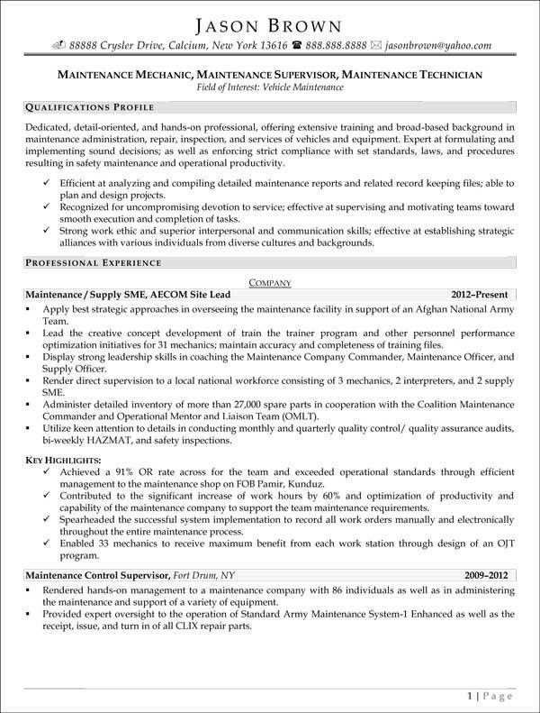 Maintenance Manager Resume Maintenance Manager Resume Example Job - maintenance director job description