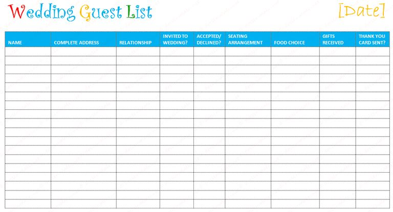 Wedding Guest List Template Printable Sample Wedding Guest List - wedding guest list template