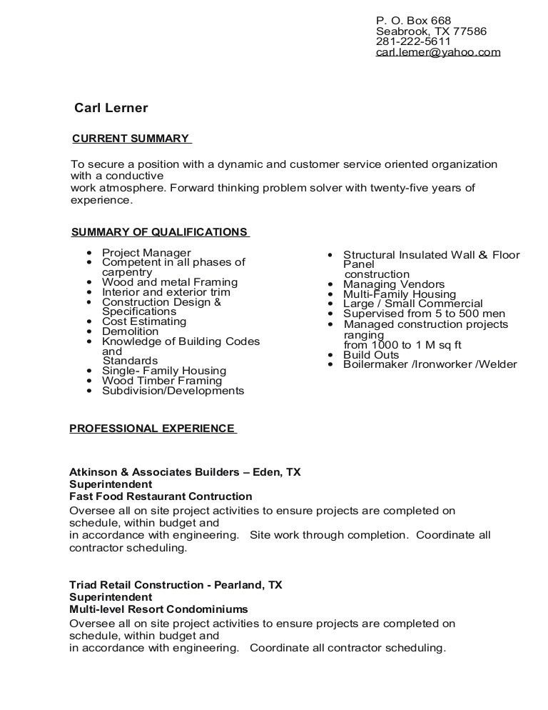 Iron worker sample resume