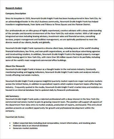 Database Analyst Job Description 1 Position Description - research analyst job description