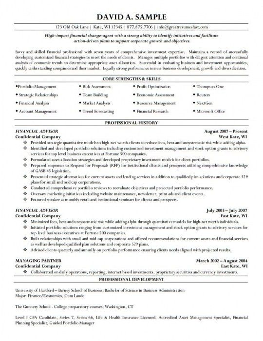 financial planner resume planner resume sample resumes financial financial advisor resume