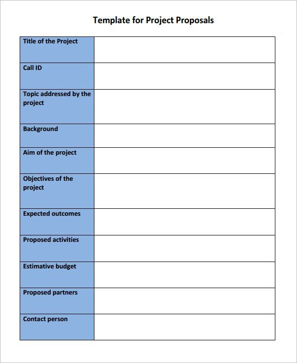 Template For Project Proposal Project Proposal Template 13 Free - proposal for a project