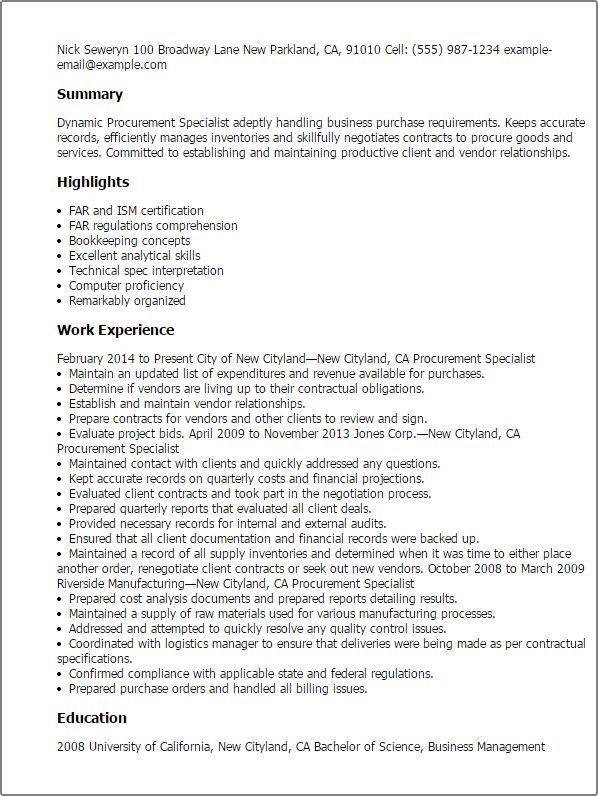 Contract Specialist Resume Professional Government Contract - contract summary template