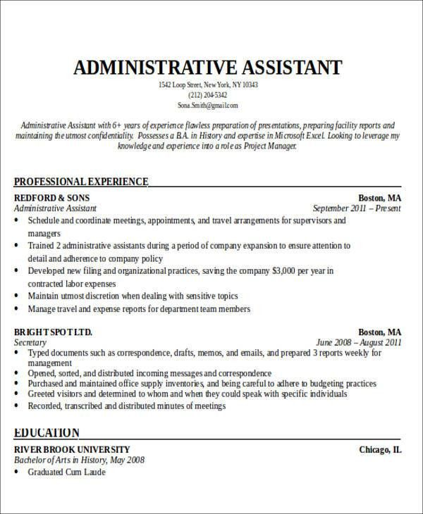 Resume Objective Administrative Sample Admin Assistant Resume - admin asst resume
