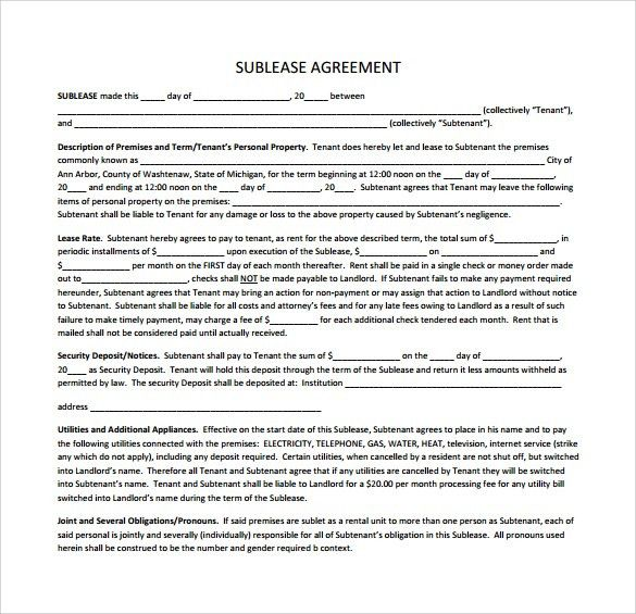 sublet template